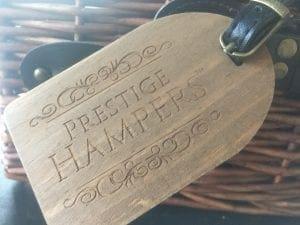 prestige hampers wooden tag