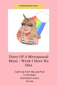 Diary Of A Menopausal Mum - Week I Have No Idea