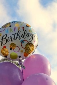 happy birthday balloons with happy birthday text