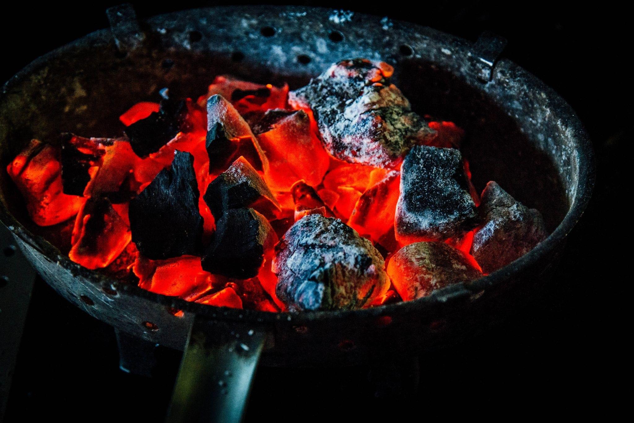 burning charcoals