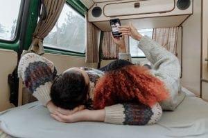 man in a campervan
